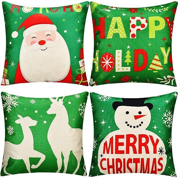 Amazon.com: Boao 6 Pieces Christmas Pillow Cover Merry ...