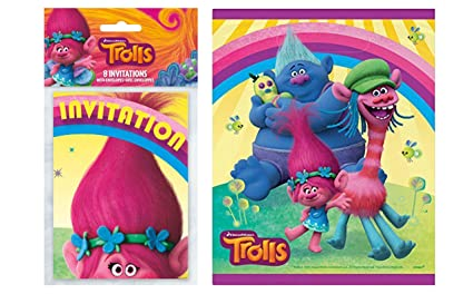 amazon com pack of 8 unique trolls party invitations and pack of 8