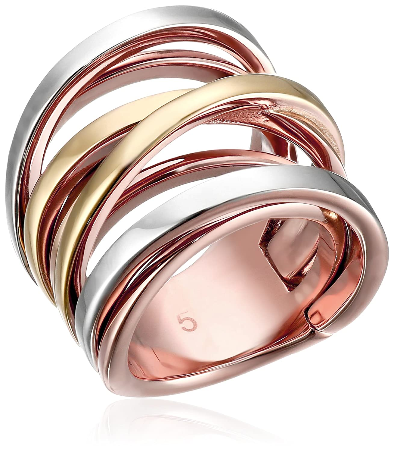ring pave kors gallery rings product open goldclear tri normal jewelry rose bar in lyst michael stack pink