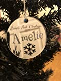 Personalised Christmas Tree Decoration - Xmas Bauble Engraved Gift Bauble for Baby's First Christmas - L1122