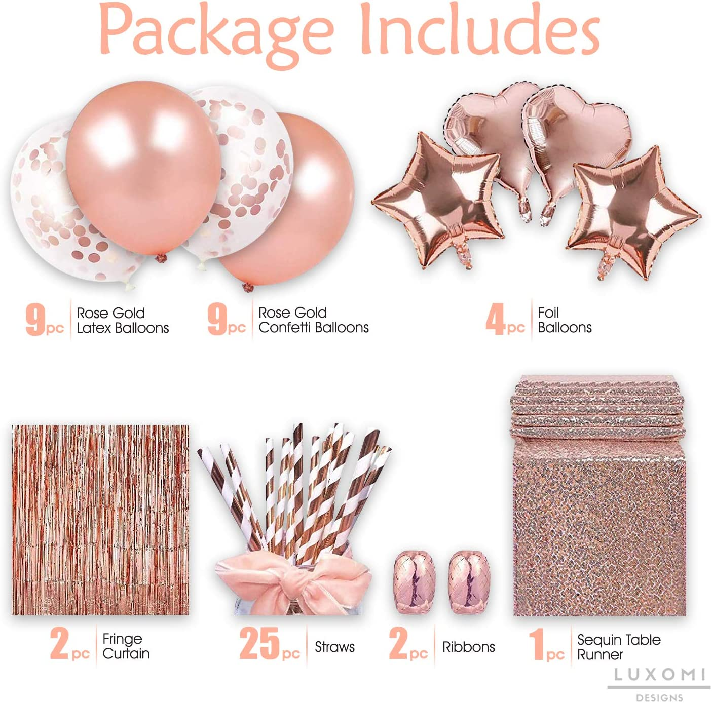 Luxomi Rose Gold Party Decorations Supplies 52 Pack Confetti Balloons Sequin Table Runner Bridal Shower or Birthday Party Fringe Curtain and Paper Straws for Bachelorette 18 inch Foil Balloons