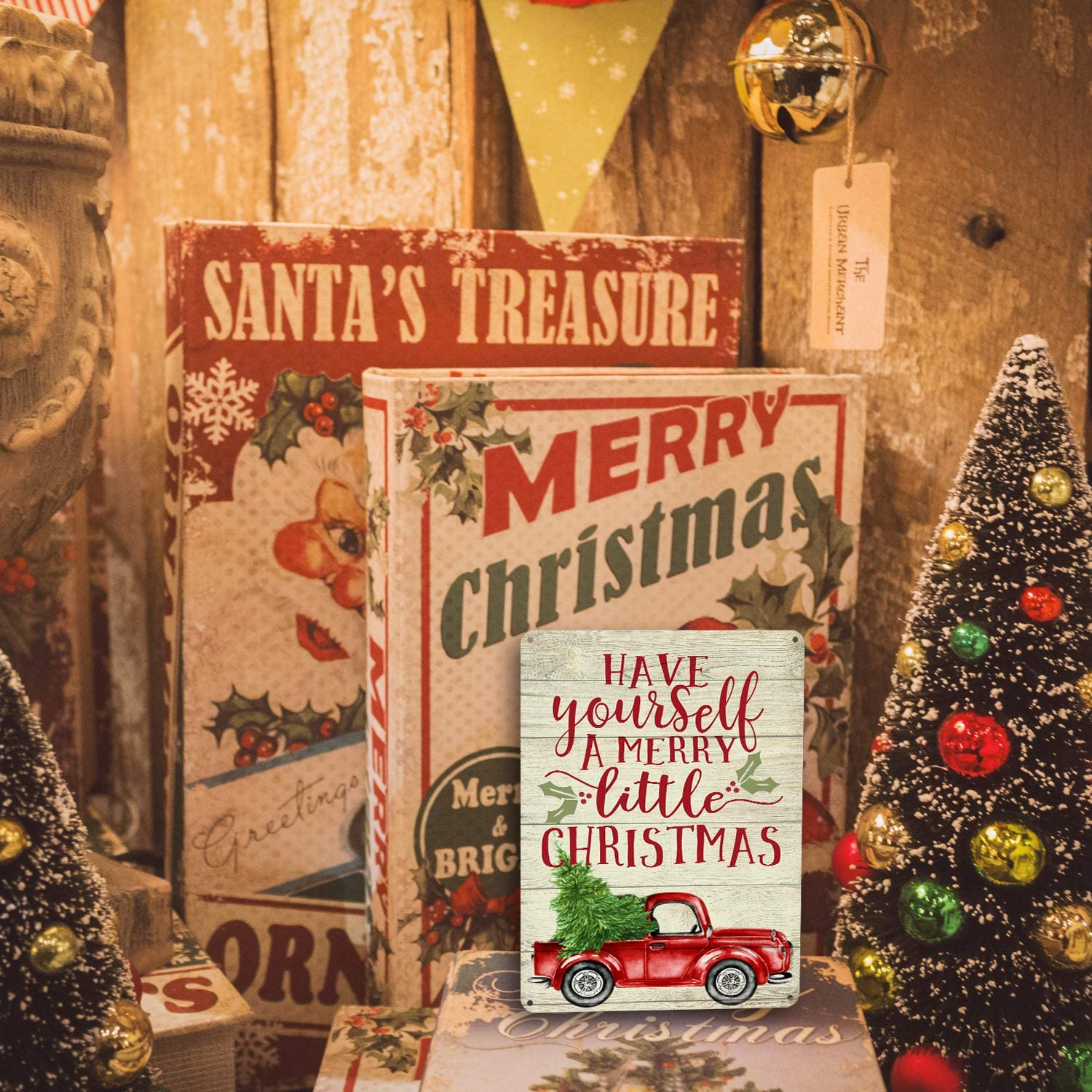 Goutoports Christmas Decor Signs Farmhouse Decorative Red Truck Vintage Wall Decorations Have Yourself a Merry Little Christmas 7.9x11.8 Inch