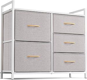 Cubiker Dresser Storage Organizer, 5 Drawer Dresser Tower Unit for Bedroom Hallway Entryway Closets, Small Dresser Clothes Storage with Sturdy Steel Frame Wood Top, Light Grey
