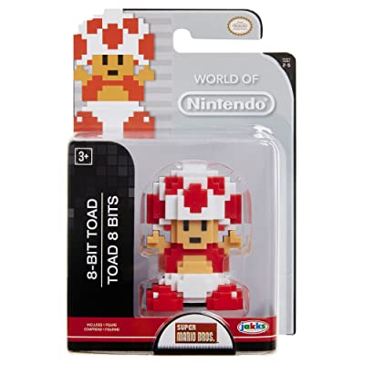 World of Nintendo Mario 8 Bit Red & White Toad Action Figure 2.5 Inch: Toys & Games