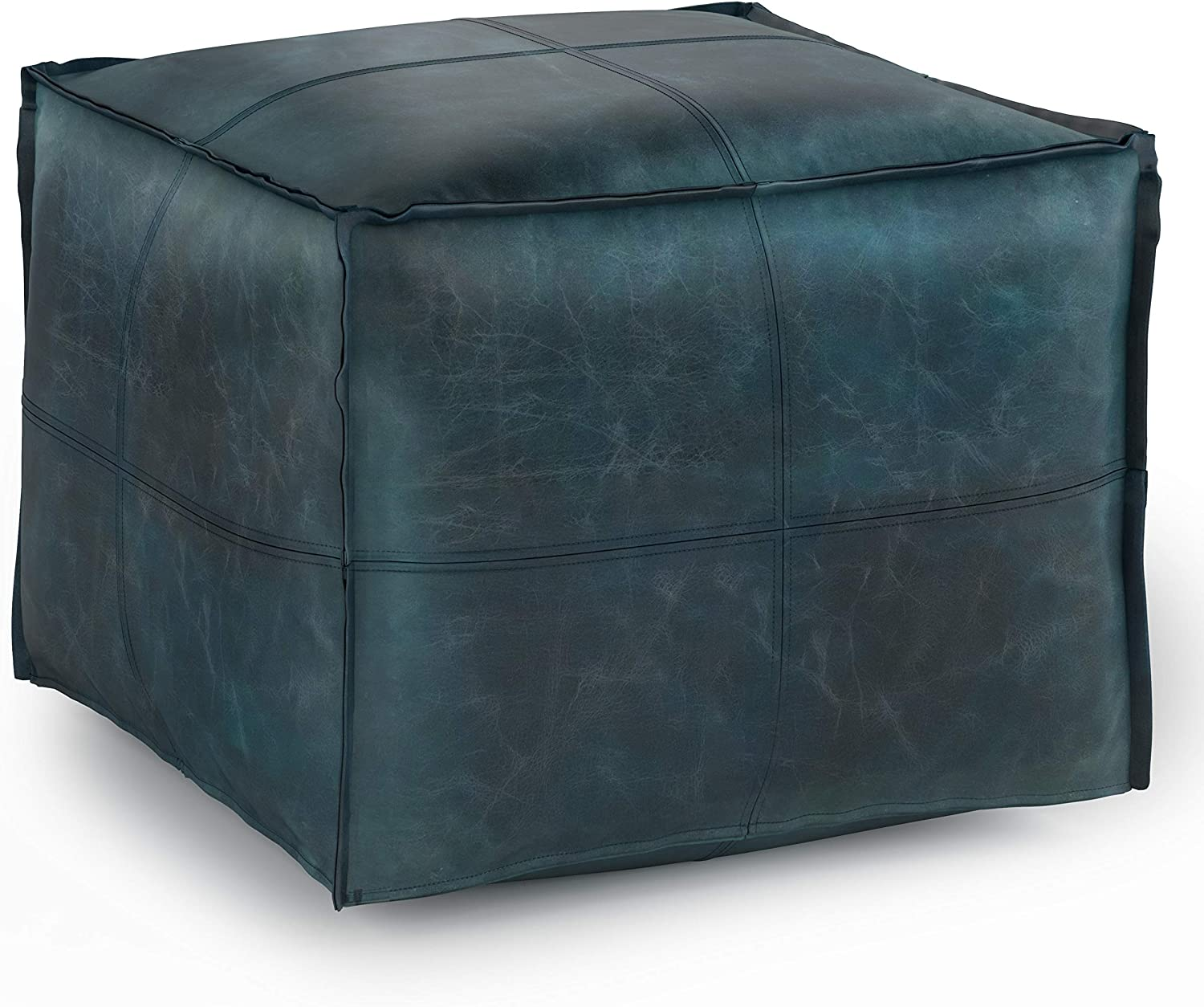 SIMPLIHOME Sheffield Square Pouf, 18 inch, Distressed Teal Blue