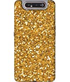 Amazon Brand - Solimo Designer Golden Sparkle 3D Printed Hard Back Case Mobile Cover for Samsung Galaxy A80