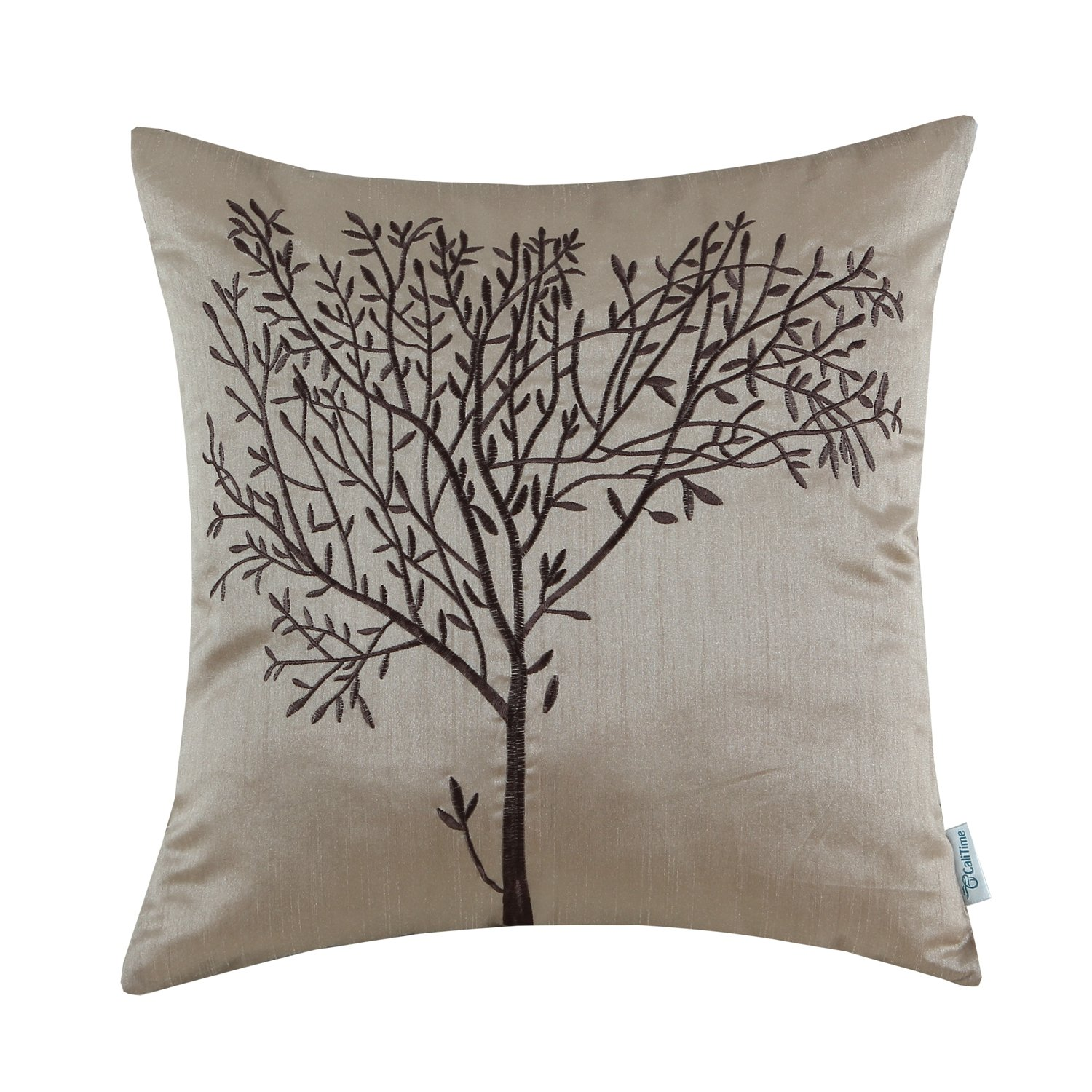 CaliTime Cushion Cover Throw Pillow Case Shell for Home Sofa Couch, Natural Tree Embroidered, 45cm x 45cm, Gold Qingdao Ray Trading Co. Ltd. DSC0282I