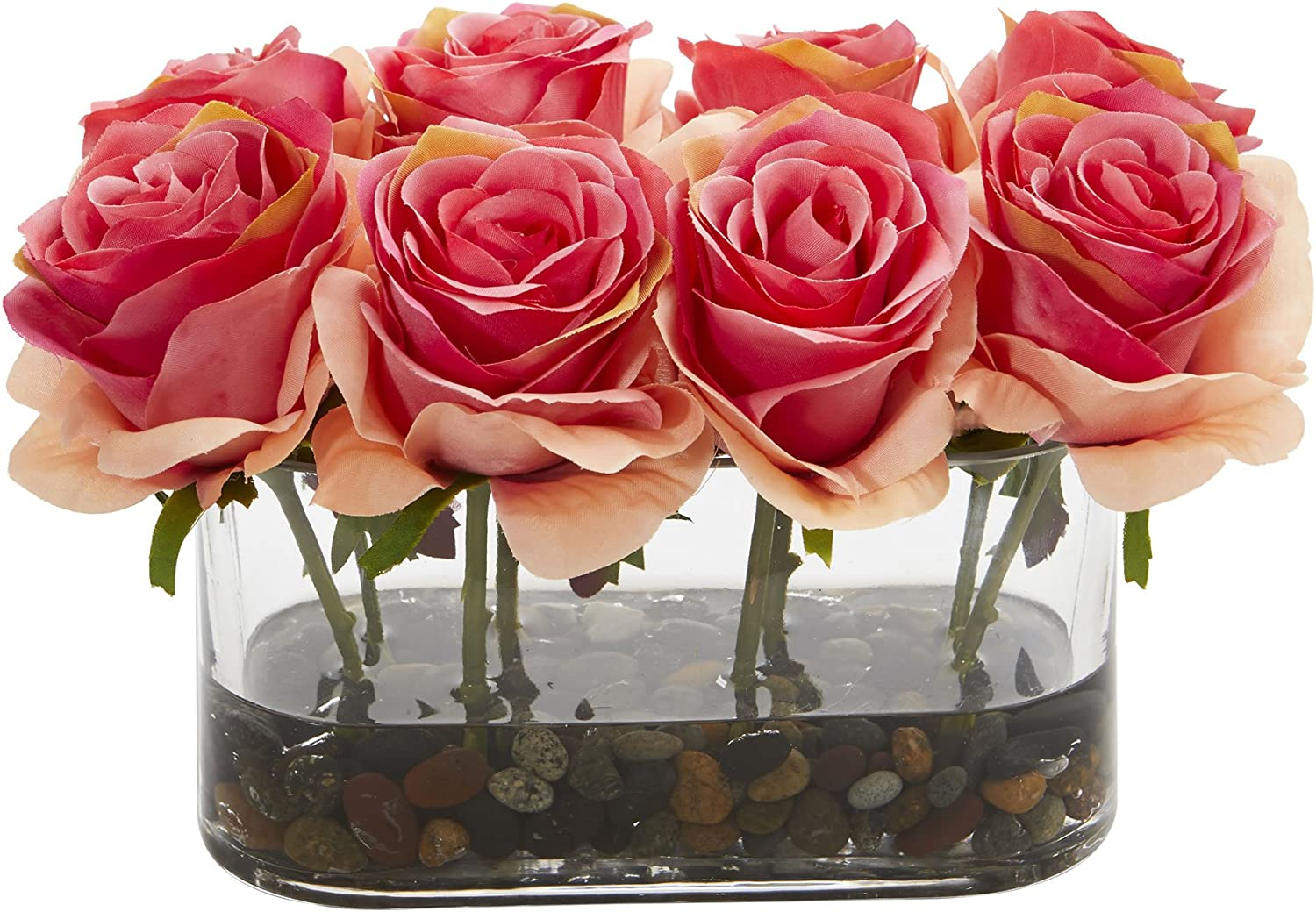 Nearly Our shop OFFers the best Rapid rise service Natural 5 ' 1 Blooming Roses Glass Vase 5.5