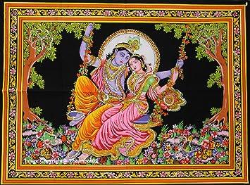 Indian Wall Decor Hippie Tapestries Bohe N Mandala Tapestry Wall Hanging Throw Multi Lord Radha Krishna Wall