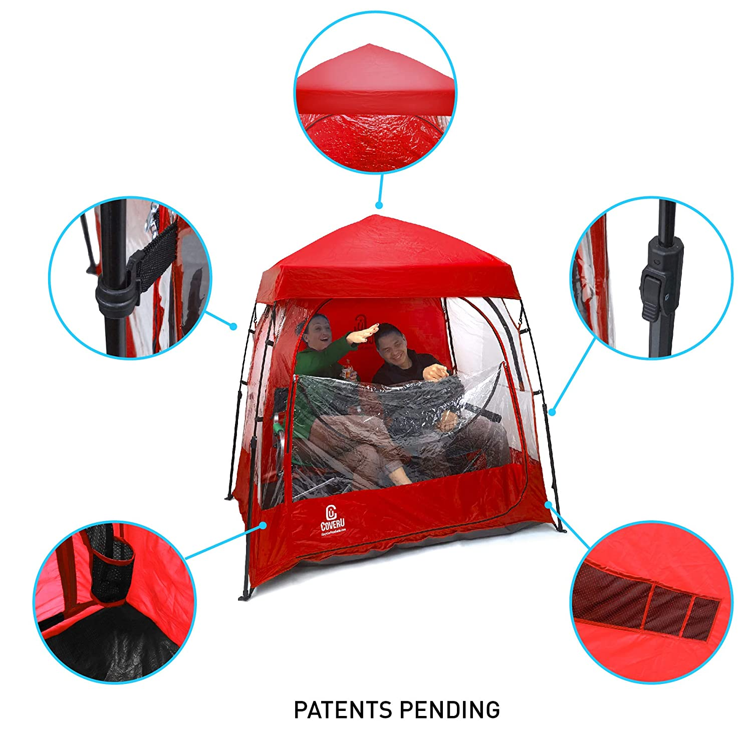 EasyGO CoverU Sports Shelter u2013 Fits 1 or 2 Person Weather Tent and Sports Pod (RED)u2013 Patents Pending - Hiking - World for all Backpacker | Hiker | Outdoor ...  sc 1 st  Hiking BNA & EasyGO CoverU Sports Shelter u2013 Fits 1 or 2 Person Weather Tent and ...