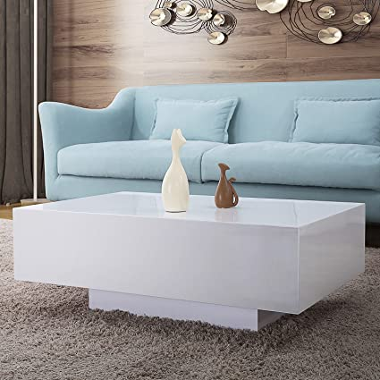 Amazon.com: Modern High Gloss White Coffee Sofa Table/Side End Table ...