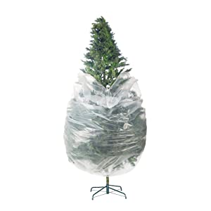 Elf Stor 83-DT5025 Premium Christmas Poly Large Storage Bag 9' x 4' for 7.5' Trees, Foot, Clear