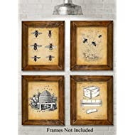 Original Bee Keeper Patent Prints - Set of Four Photos (8x10) Unframed - Great Gift for Bee Keepers and Urban Gardeners