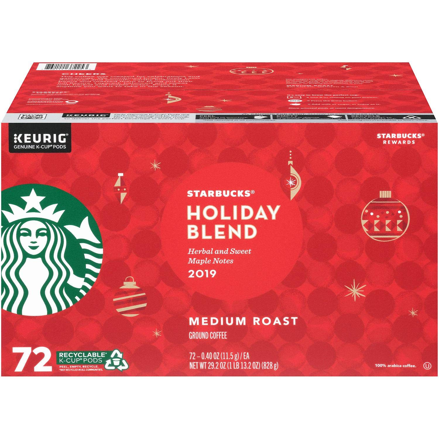 Starbucks Christmas Blend 2020 K Cups Amazon.: Starbucks Holiday Blend Medium Roast Coffee 72/ 0.40