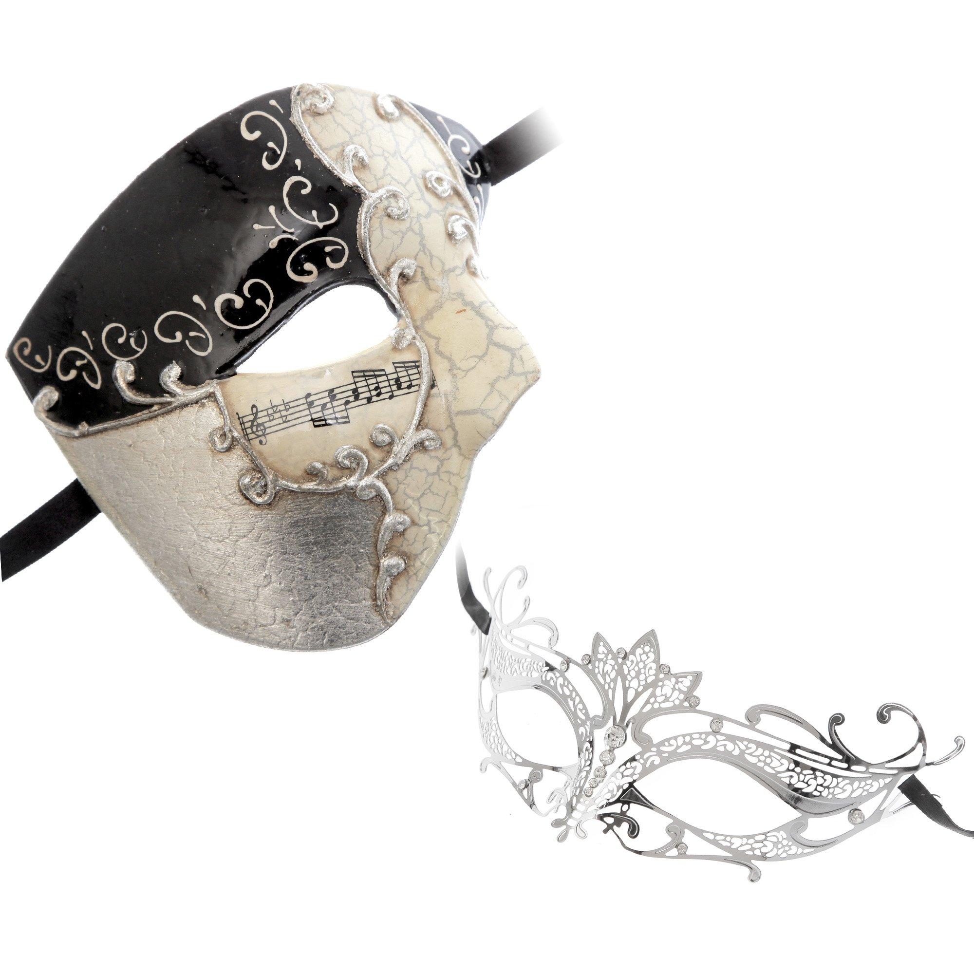 Half Face Musical Phantom of Opera Men Mask Black Silver Series Couple Mask Sets (bk5)