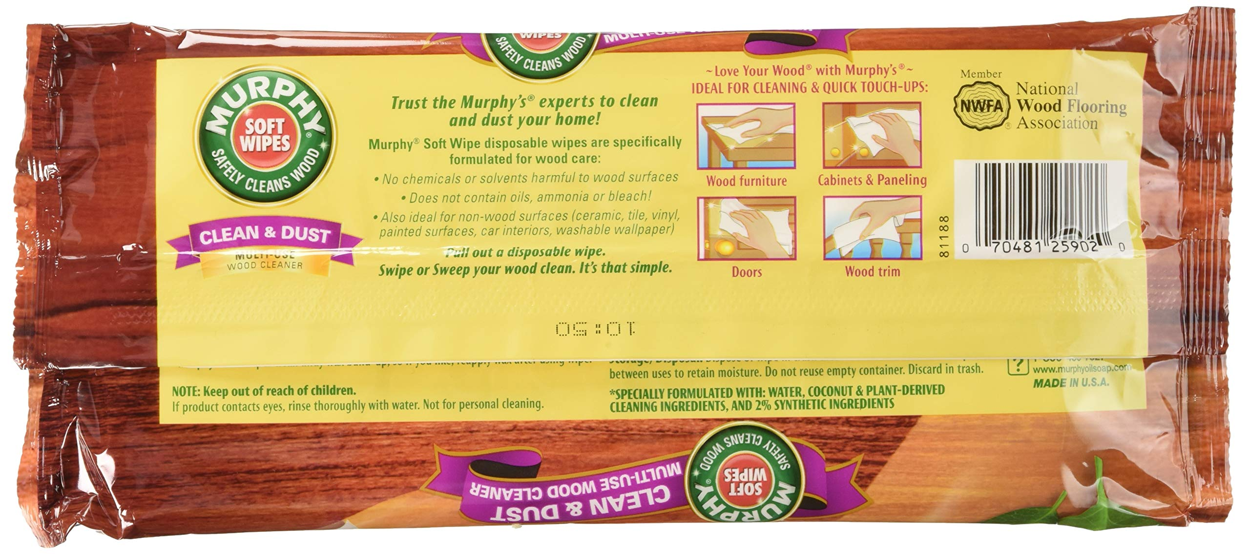 Murphy Oil Soap Soft Wipes, Wet, Disposable, Large Size, 18 Count (Pack of 3) by Murphy (Image #2)