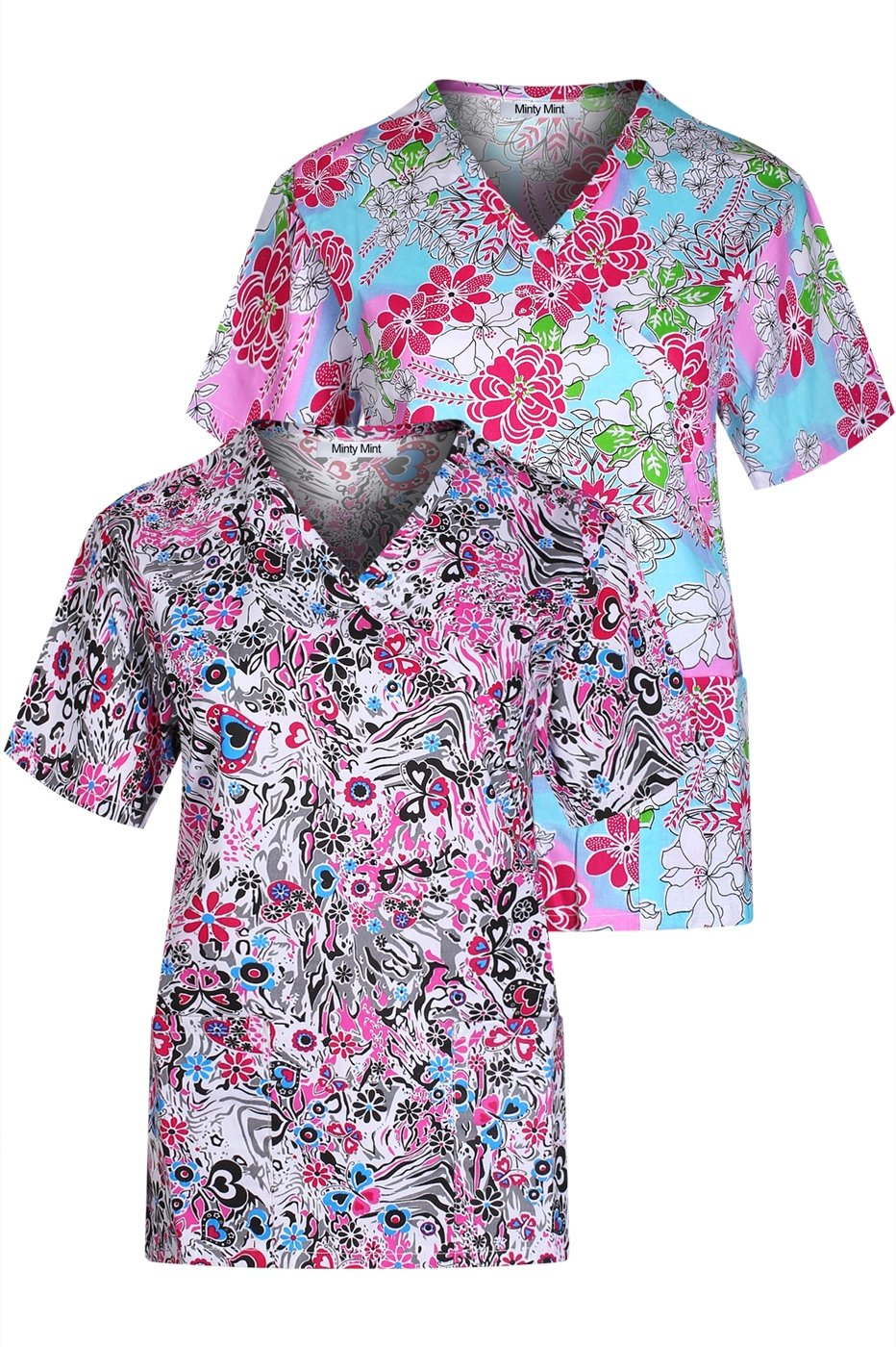 Minty Mint Women's Medical Scrub Printed V-Neck Top Multi Pack White Blue XS(452)