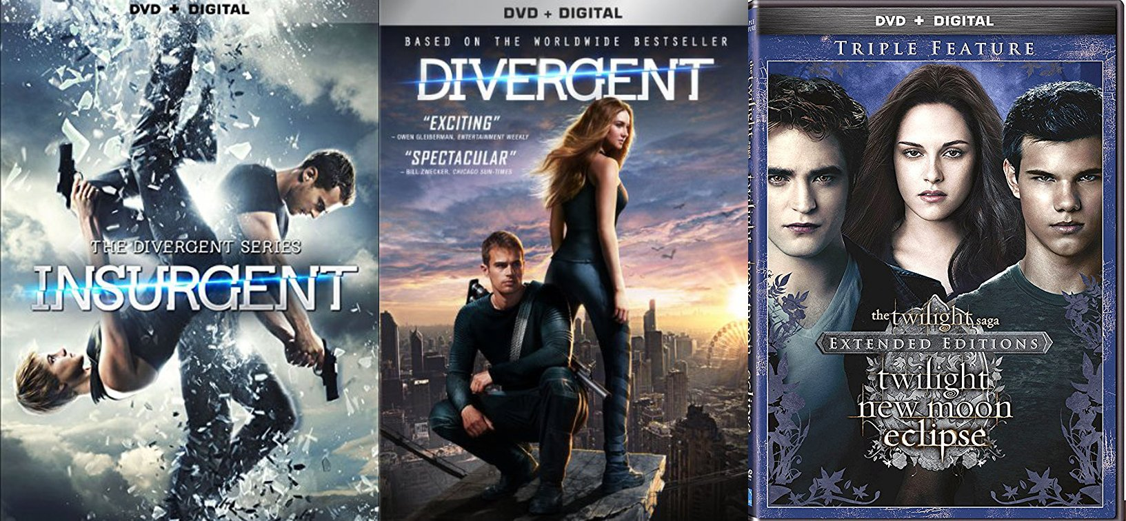 The Twilight Saga: Extended Edition Triple Feature New Moon / Eclipse DVD + Divergent Series Movie + Insurgent - 5 Disc collection by Lionsgate