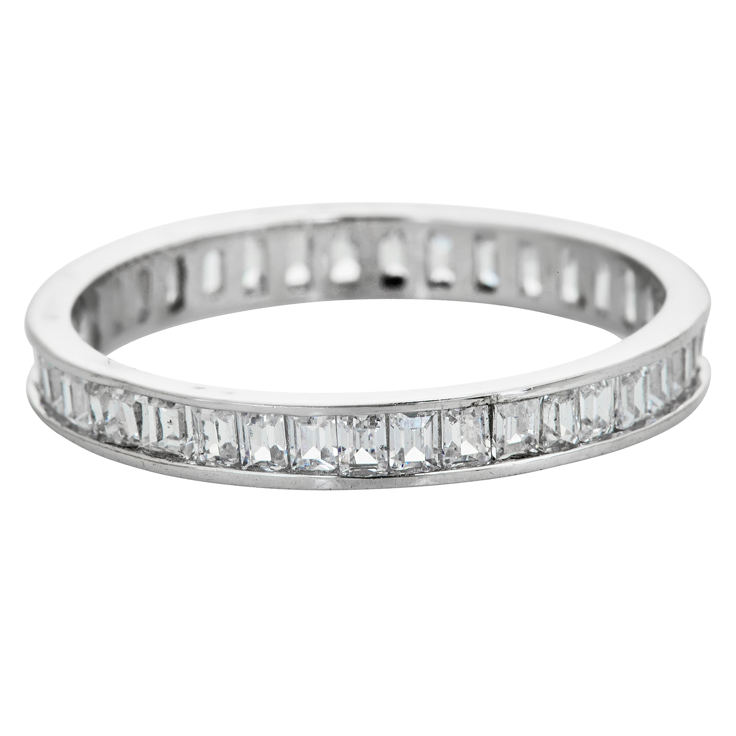 Decadence Sterling Silver 1.5x2mm Channel Set Baguette Cubic Zirconia Eternity Band Stackable Ring