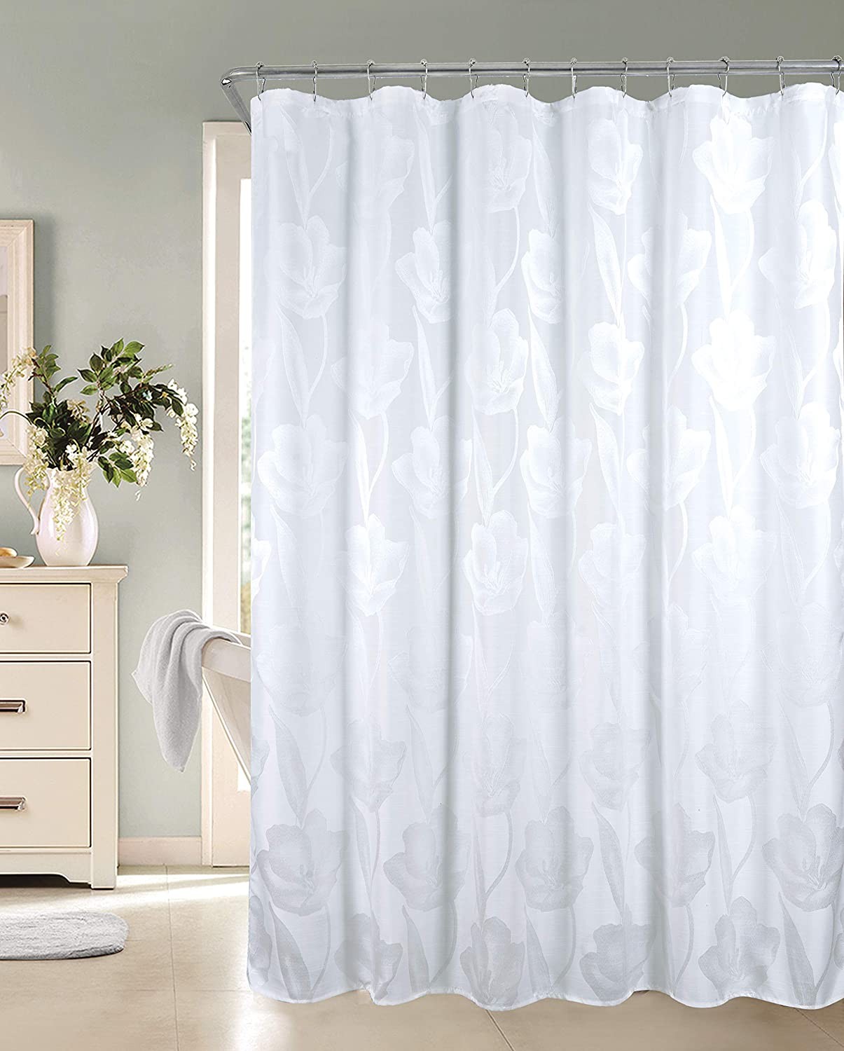 Dainty Home Lily Fabric Shower Curtain, White