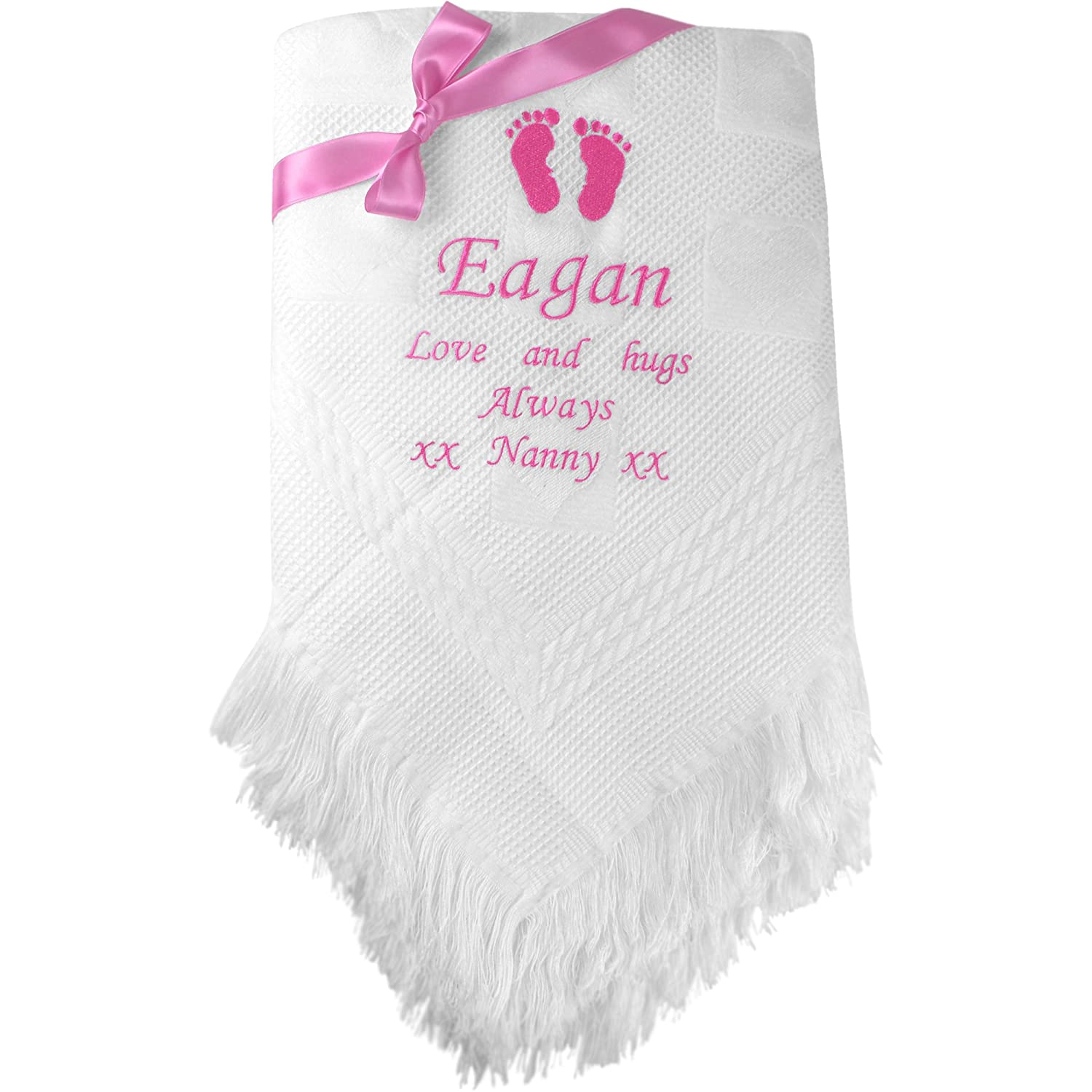 blue soft gift Personalised embroidered baby blanket:white pink zodiac sign
