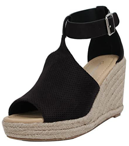 ea6ac4a98c Amazon.com   City Classified Women's Peep Toe Perforated Ankle Strap  Espadrilles Wedge Black   Platforms & Wedges