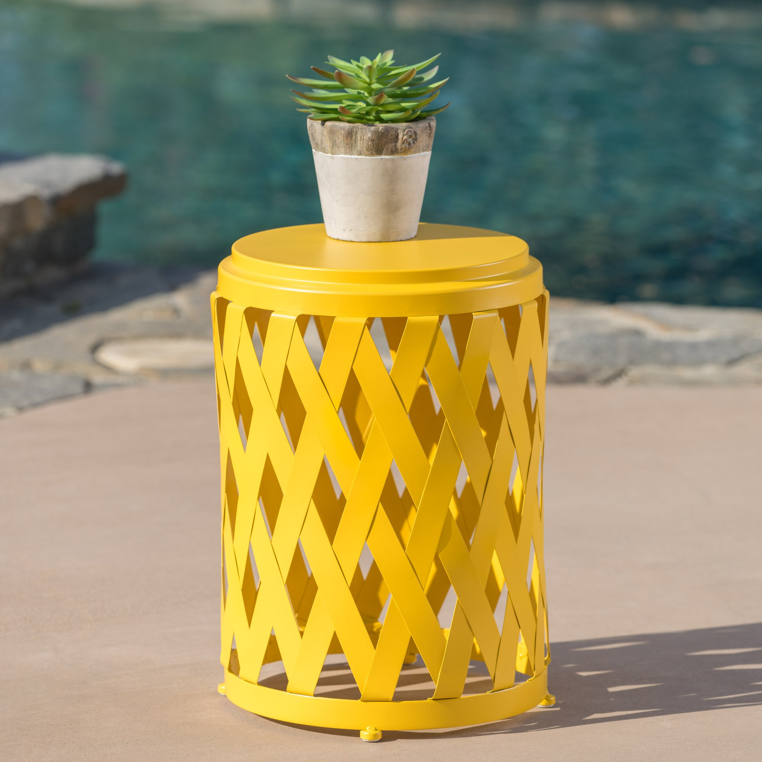 Christopher Knight Home 302108'' Selen CKH Outdoor Accent Tables, Matte Yellow