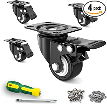 4 Pack 2 inch Caster Wheels Swivel with Brake Heavy Duty Ball Bearing Castors