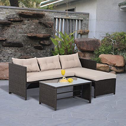 Amazon.com : mi-art shop 3PC Patio Rattan Sofa Set Outdoor ...