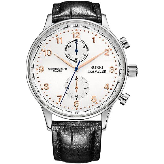 BUREI cronógrafo de cuarzo para hombre relojes grandes números arábigos de cristal de zafiro sintético y correa de cuero genuino negro: Amazon.es: Relojes