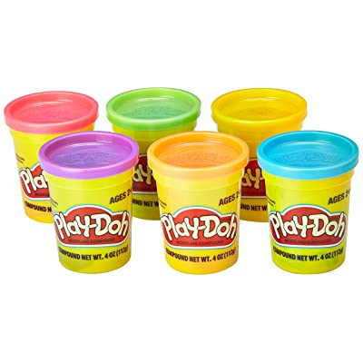 Play-Doh Assorted Colors (6-Pack) of Non-Toxic Modeling Compound, 4-Ounce Cans Kid's Toys Collectible Playset | Blue, Red, Orange, Purple, and More | Girls and Boys: Toys & Games