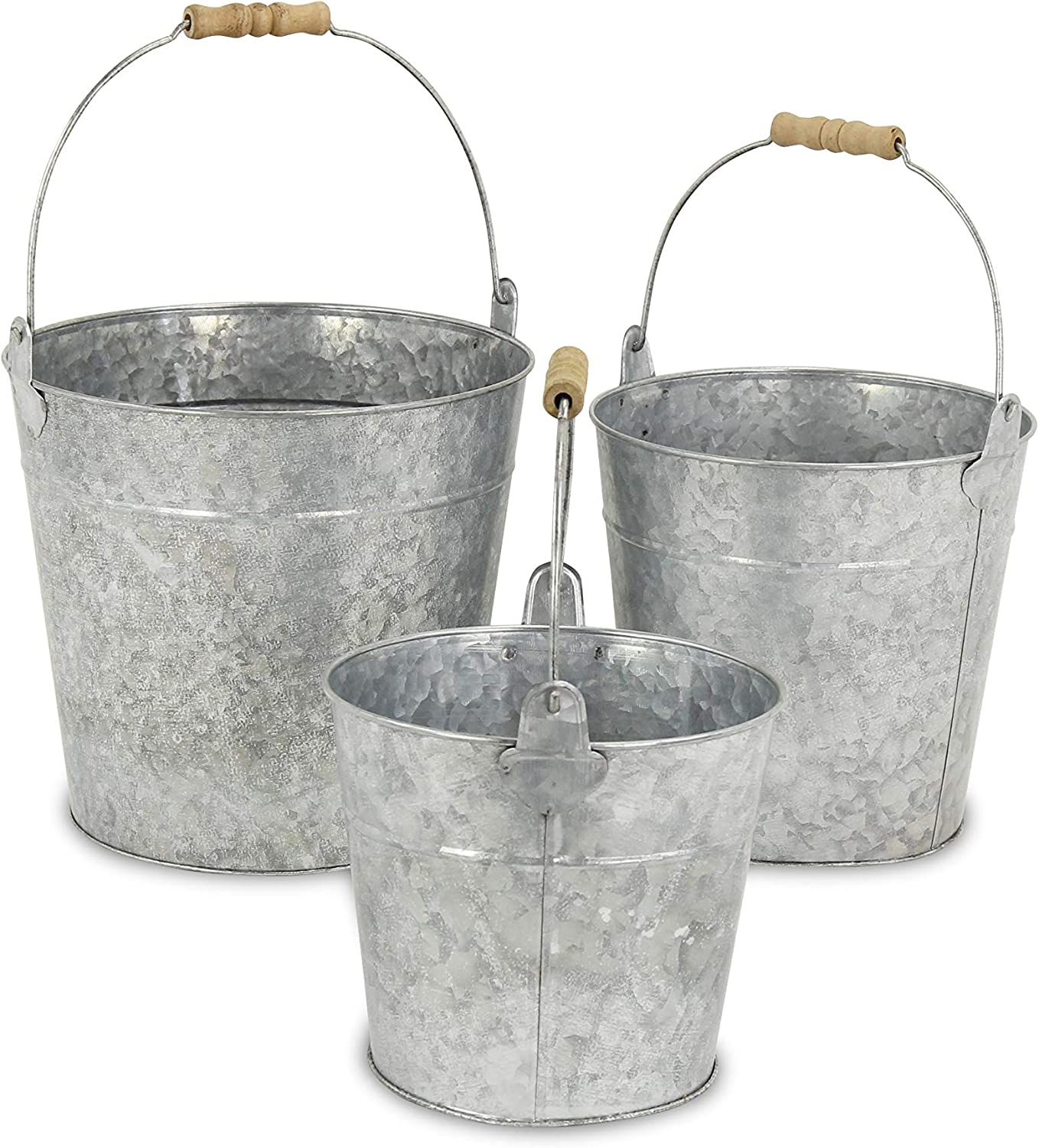 Cheung S Fp 3743 3 Set Of 3 Metal Bucket With Natural Wood Grip Handle Galvanized Gray 3 Piece Home Kitchen