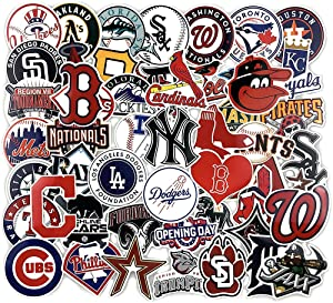53PCS Baseball Team Logo Sticker Baseball MLB Team Stickers for Water Bottle, Laptop, Bicycle, Computer, Motorcycle, Travel Case, Car Decal Decoration