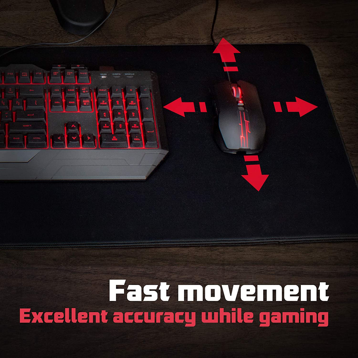 Long Extended Gaming Mouse Mat//Pad 37.4W x 13L Black Stitched Edges 5mm Thickness XL Large Wide