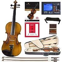 Cecilio CVN-500 Solidwood Ebony Fitted Violin with D'Addario Prelude Strings, Size 1/2