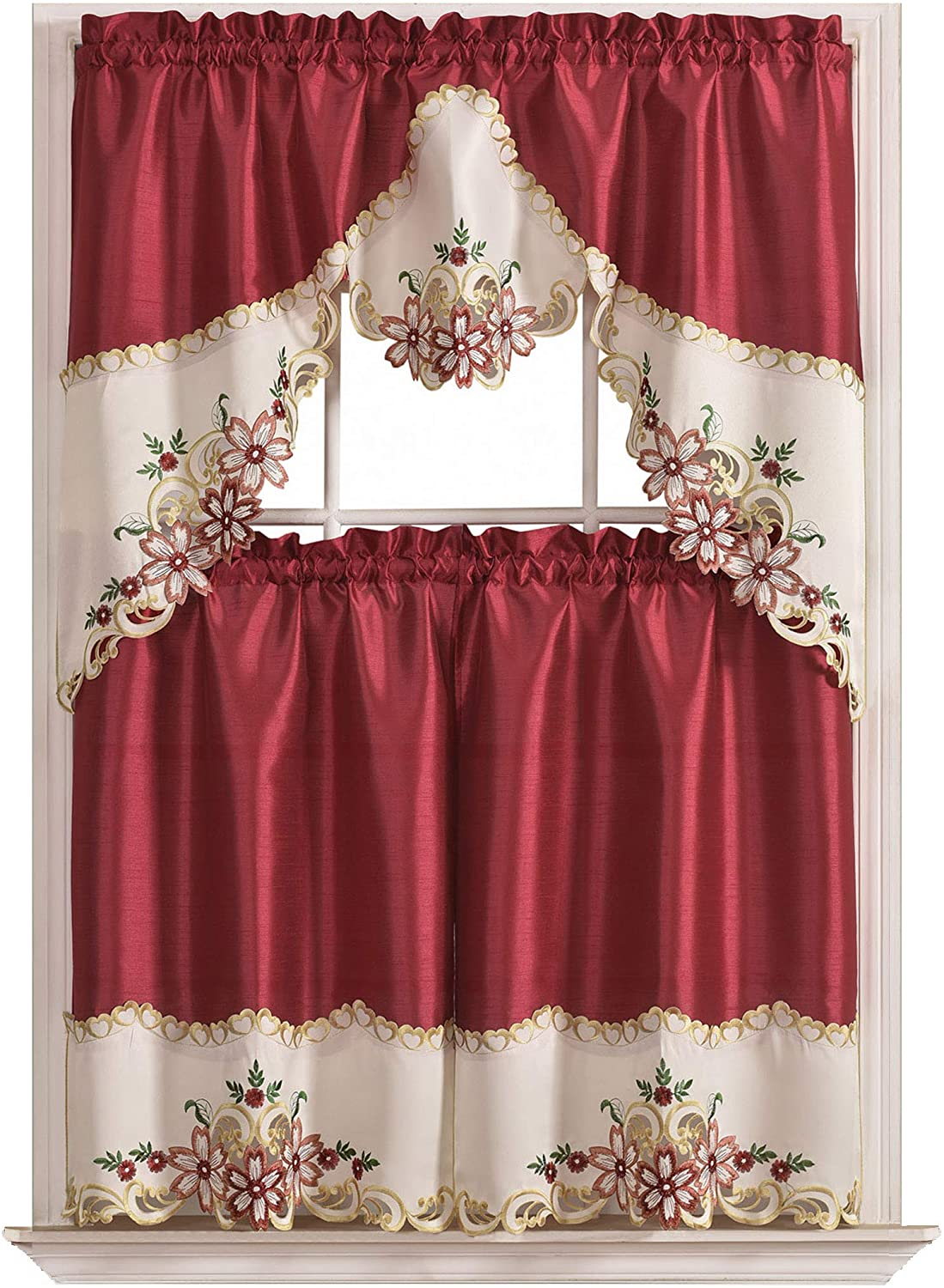 GOHD Golden Ocean Home Decor Arch Floral Kitchen Cafe Curtain Set. Window Treatment Set for Small Windows. Nice Matching Color Floral Embroidery on Border with cutworks (Wine)