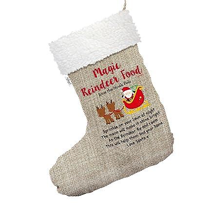 d9212fd78 Amazon.com  Magic Reindeer Food Large Hessian Christmas Stocking ...