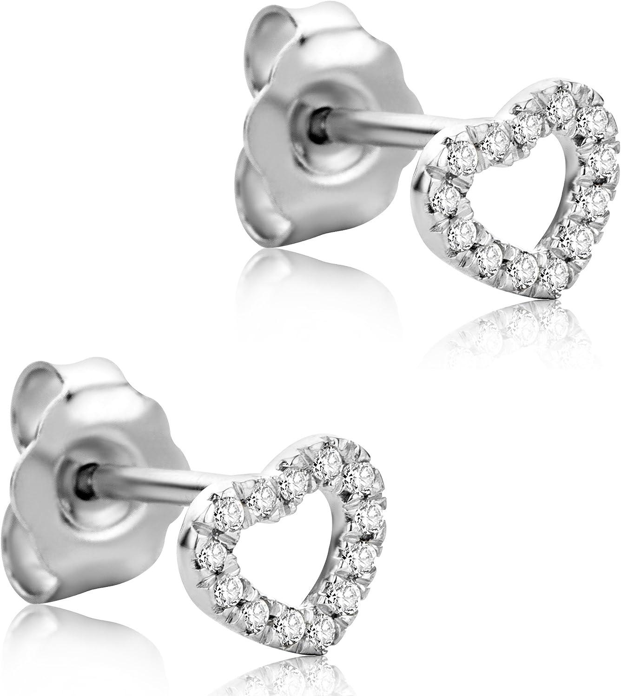 Orovi Pendientes Señora Corazón presión en Oro Blanco con Diamantes Talla Brillante 0.07 ct Oro 18 kt /750