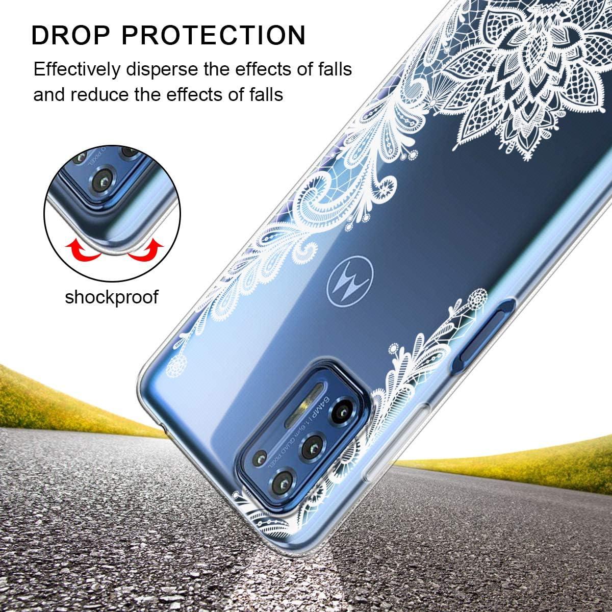 Reshias Coque de protection pour Moto G9 Plus 6,8 pouces souple et transparente en silicone TPU avec deux films de protection d/écran en verre tremp/é pour Moto G9 Plus
