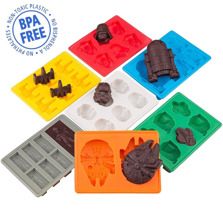 Sunerly Moldes de silicona para bandeja de hielo en forma de personaje de Star Wars, ideal para chocolate, cubitos de hielo, bandejas, gelatina, dulces, ...