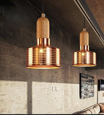 FOSHAN MINGZE 1-luz vintage colgante de luz de cobre y madera ...