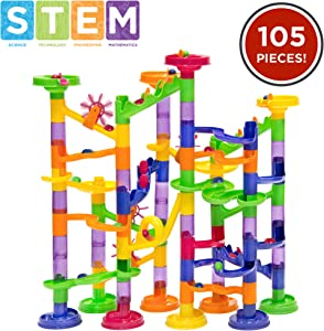 Best Choice Products 105-Piece Kids Transparent Plastic Building Block Construction Marble Run Coaster Track for STEM, Learning, Education w/ 75 Structure Pieces, 30 Marbles - Mutli