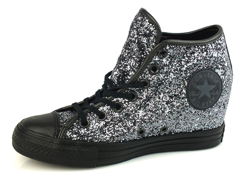 Converse Converse Converse - Converse All Star Donna Scarpe Sportive Zeppa Glitterate Lux Mid - argentoo, 35.5 42e2fd