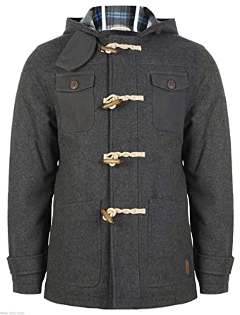 Mens Tokyo Laundry Hooded Duffle Coat Toggle Buttons Wool Mix Grey ...
