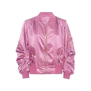 df23980c5 New Womens Ladies Satin Zip Pocket Baggy Oversized Bomber Jacket ...