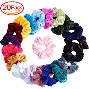 Mandydov 20 Pcs Hair Scrunchies Velvet Elastic Hair Bands Scrunchy Hair Ties  Ropes Scrunchie for Women 8e70769911f