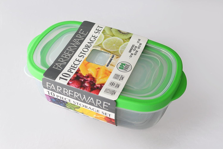 Farberware Plastic Rectangle Food Storage, Green