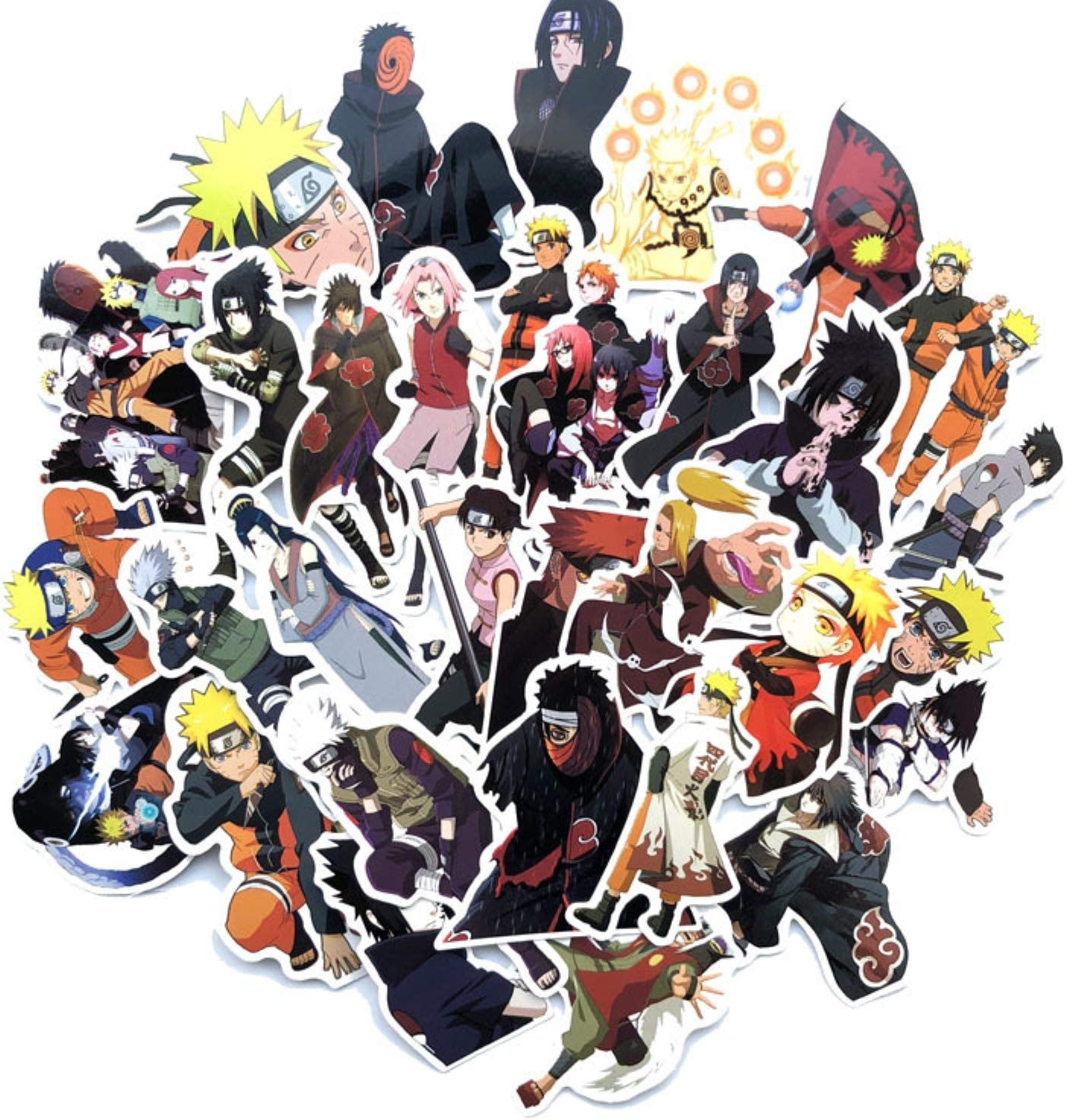 Naruto Sticker Pack[63pcs], Anime Vinyl Sticker for Nintendo Switch Laptop Water Bottle Bike Car Motorcycle Bumper Luggage Skateboard Graffiti Best Gift for Children
