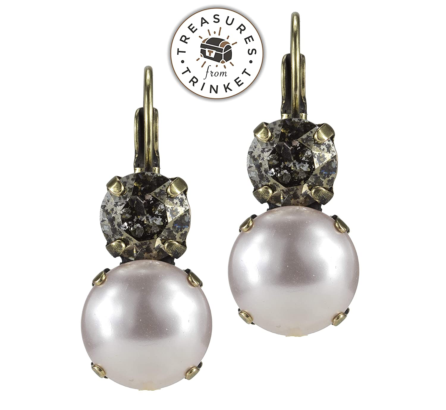 b7e7169880a8c Amazon.com: Swarovski Lever back Earrings 12mm Roseline Pearl and ...