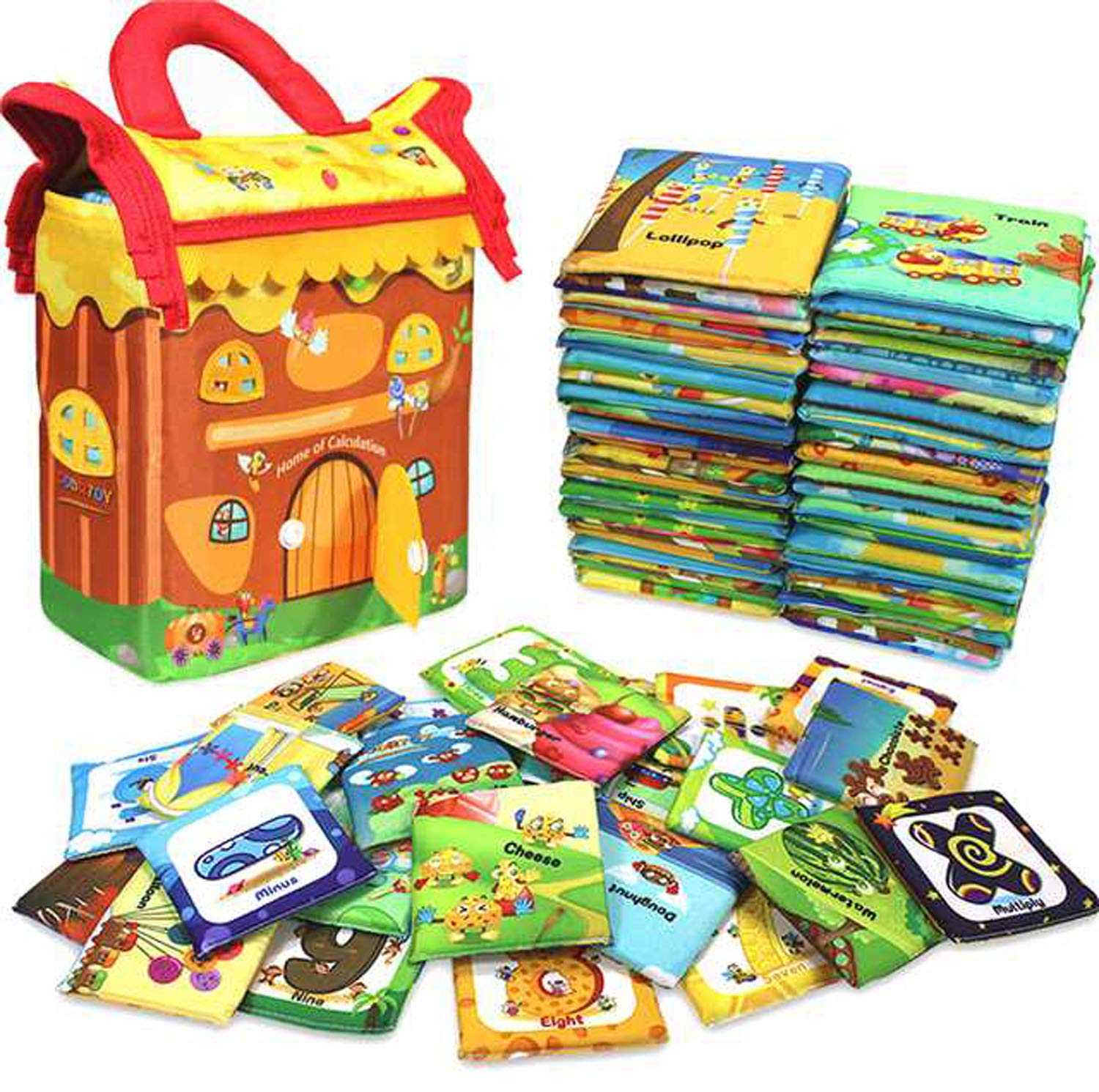 GODR7OY Baby Activity 46pcs Numbers and Animals Soft Cloth Cards with Cloth Bag for Infants Boys and Girls Educational Toys